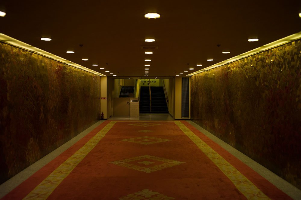 The red hallway to the main building