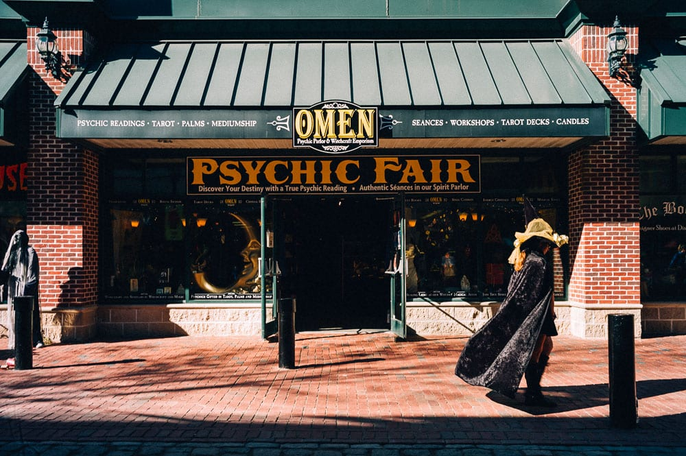 There was a month long Psychic & Witchcraft Fair. Booths are set up for readings galor