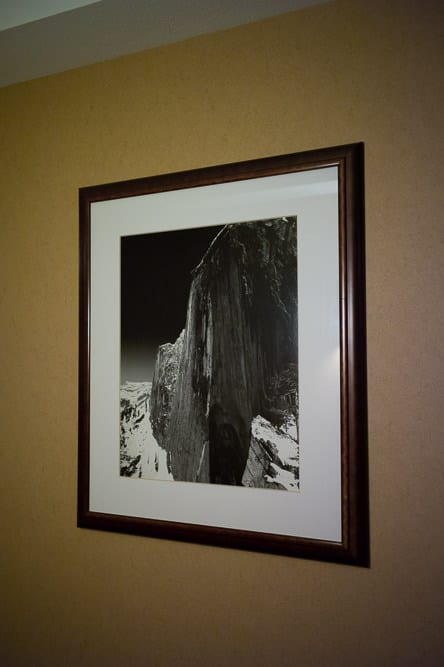 Beautiful prints by Ansel Adams and other talented landscape photographers hang on the walls of the Tenaya Lodge